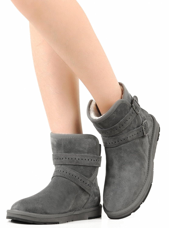 AU&MU Women's Full Fur Sheepskin Suede Winter Snow Boots B073SZXMRZ 7 B(M) US|Grey 1