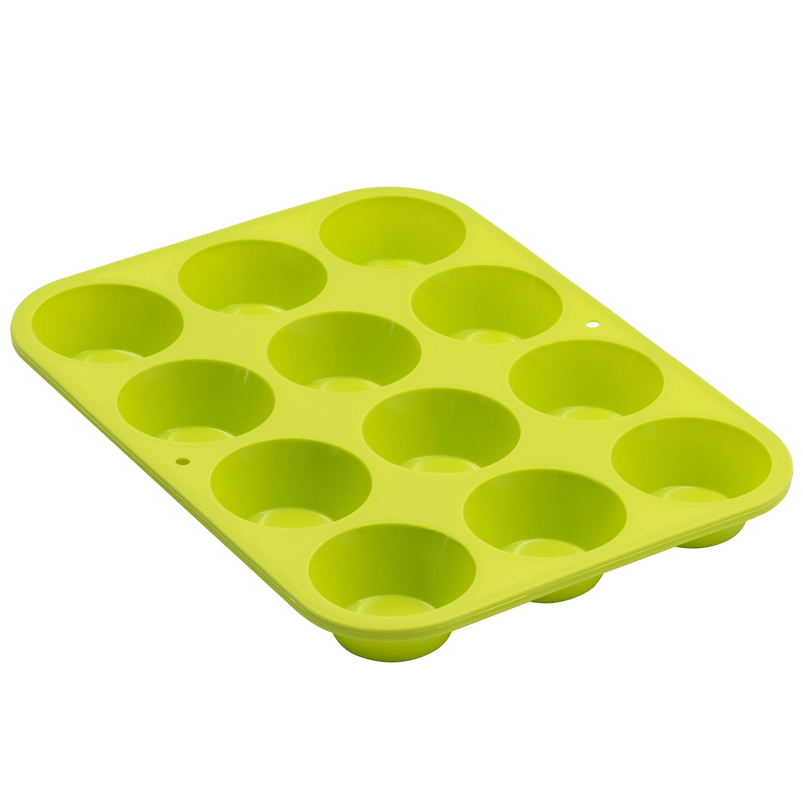 Marathon Housewares KW200011GR Premium Silicone 12 Cup Mini Muffin Pan, Green by Marathon Housewares (Image #1)