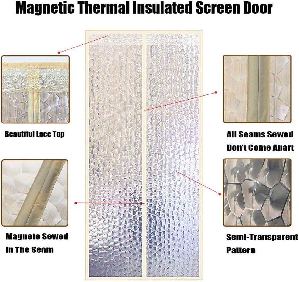 Front Doors for Back Doors Patio Doors -Yellow-70x200CM Windproof Cold-resistant Air Conditioner Partition Curtain Bi Fold Door Easy Install HMHD Insulated Magnetic Screen Door