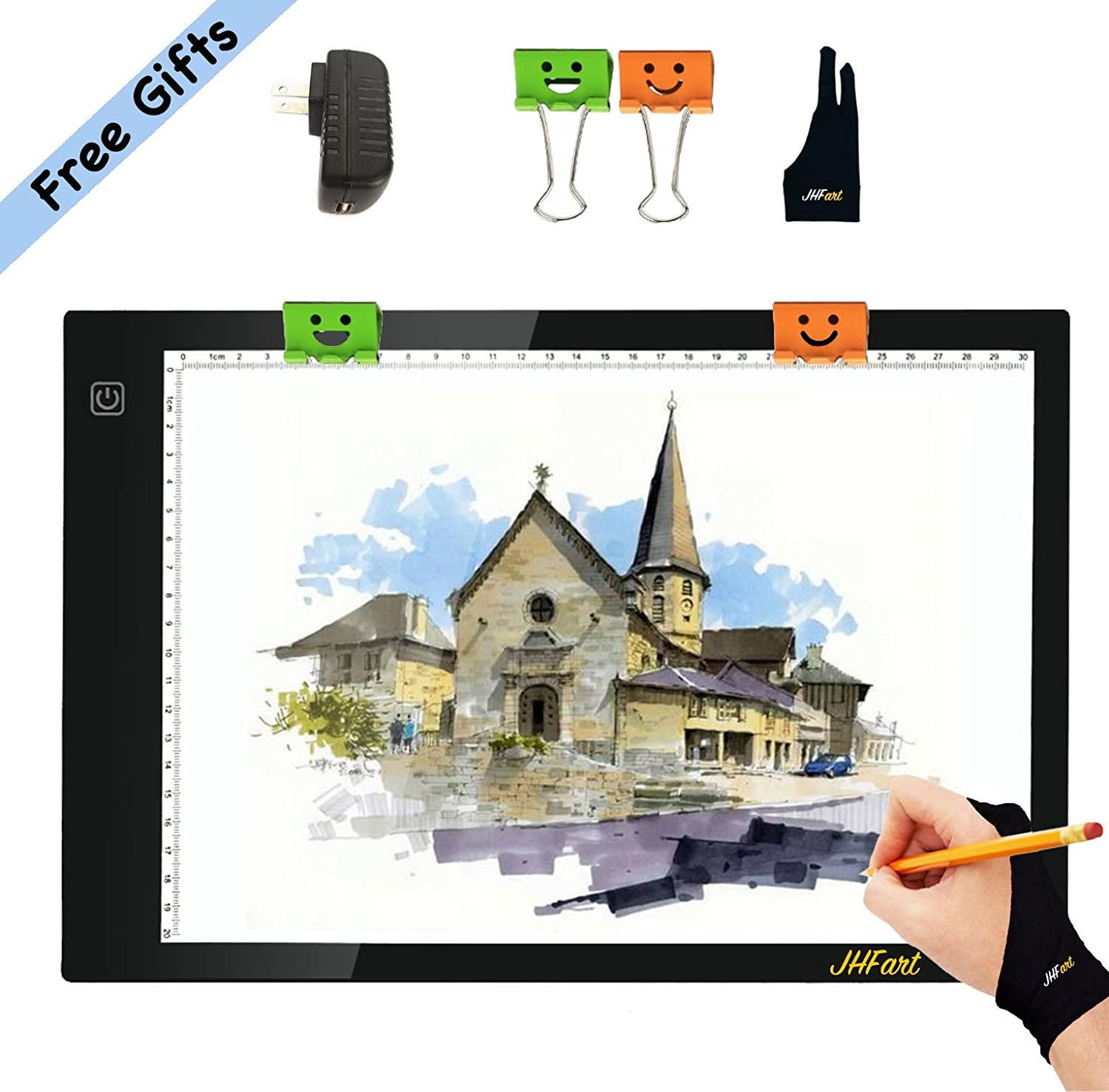 JHFart A4 Light Table Light Box Tracer Memory Function Led Light Pad Drawing Board Artcraft Tattoo Watercolour Copy Quilting Tracing Diamond Painting Xray Pad w// Clips Glove and Certified USB Adapter
