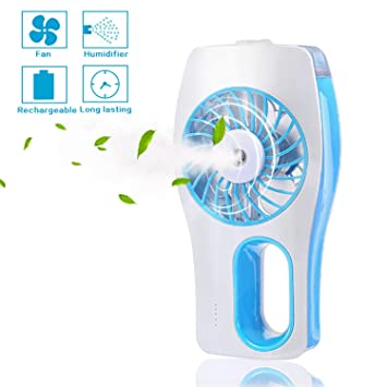 Portable Handheld USB Mini Misting Fan With Personal Cooling Humidifier,  Rechargeable Battery And Water Tank