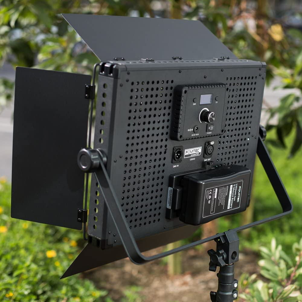 V-Lock Mount and Stands Portable 2-Light 600 LED Daylight Panel Kit for Video /& Photo with DMX Case Fovitec
