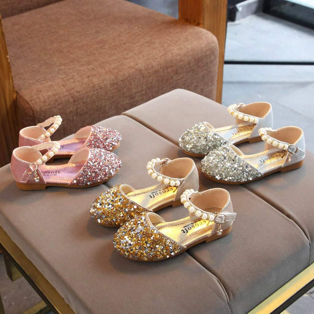 Kasien Baby Shoes Toddler Infant Kids Baby Girls Pearl Bling Sequins Single Princess Shoes Sandals