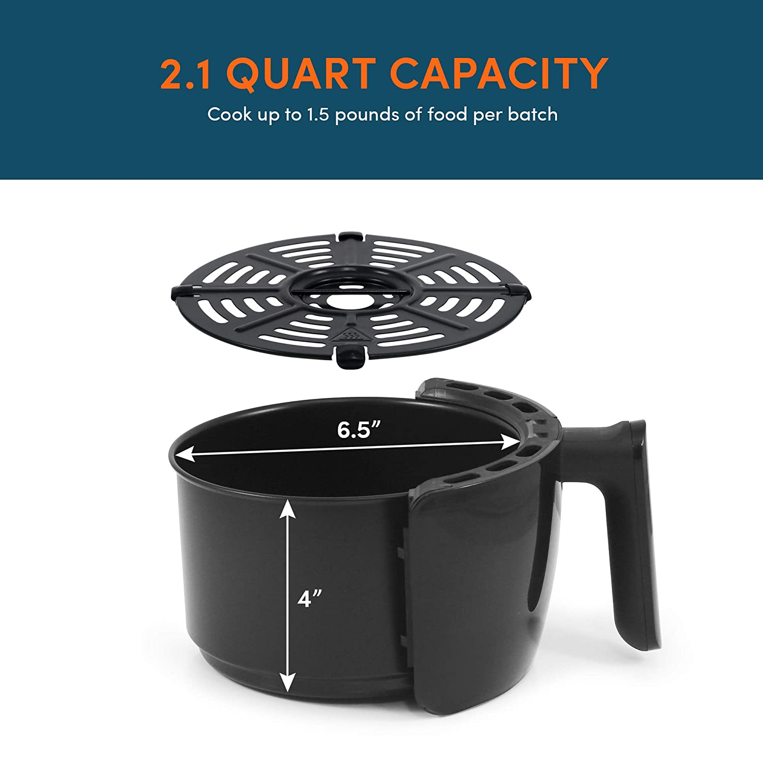 PFOA//PTFE Free Oil-Less Healthy Cooker Maxi-Matic EAF-8061 Personal Compact Space Saving Electric Hot Air Fryer Timer /& Temperature Controls Black 2.1 Quart 1000-Watts with Recipes