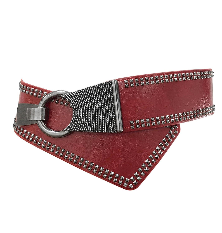 TY belt Damen Mädchen Rivet Nieten Oblique Schnalle Verstellbare Elastische Breite Gürtel grau) BW0082