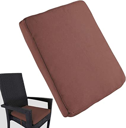 """Amazon.com : Uheng Patio Outdoor Chair Cushions With Ties, Seat Pads Mat, Waterproof Removable Cover, Comfort Memory Foam Nonslip For Garden Deck Picnic Beach Pool -18"""" X 18"""" (4 Pack, Coffee) :"""
