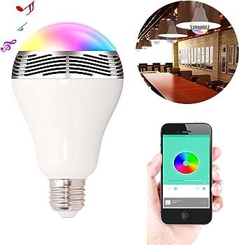Bluetooth LED Glühbirne mit Lautsprecher Wake-Up RGB Farbwechsel E27 E14 6 Watt