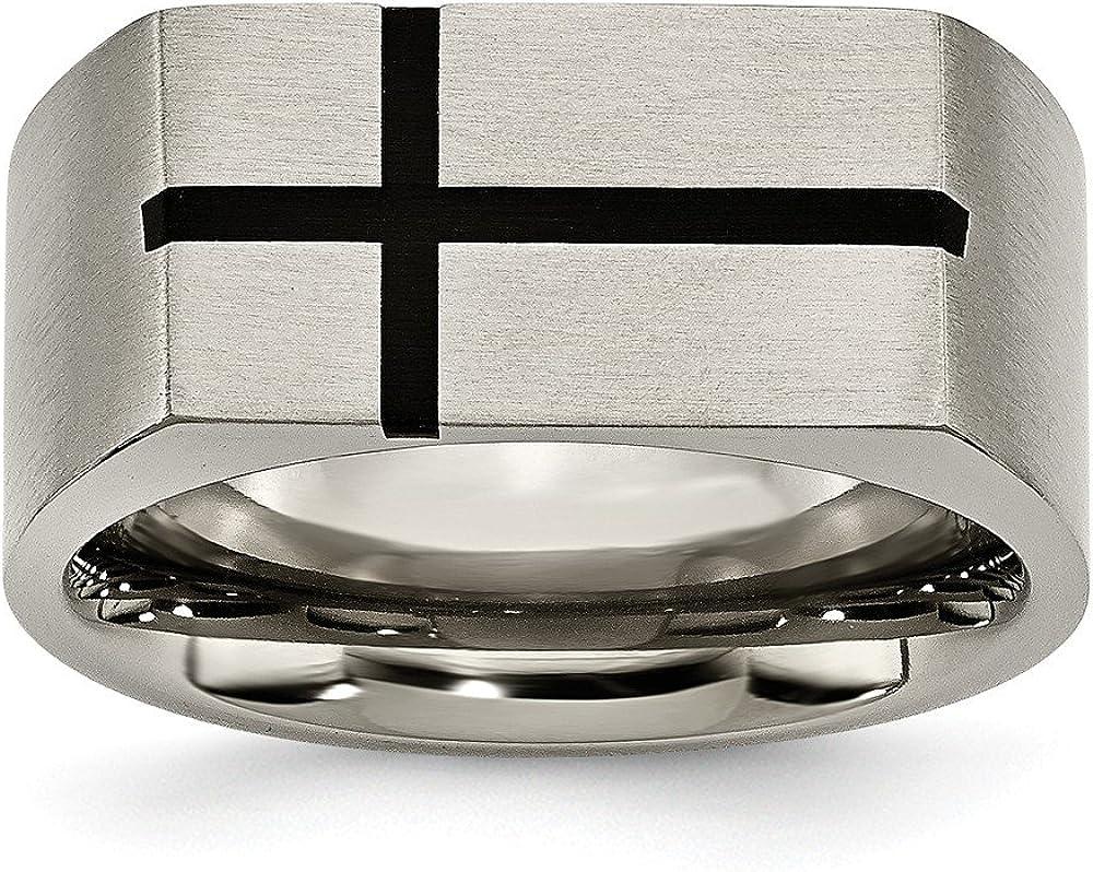 Jay Seiler Titanium 10mm Black Enamel Cross Brushed Band Size Titanium 14