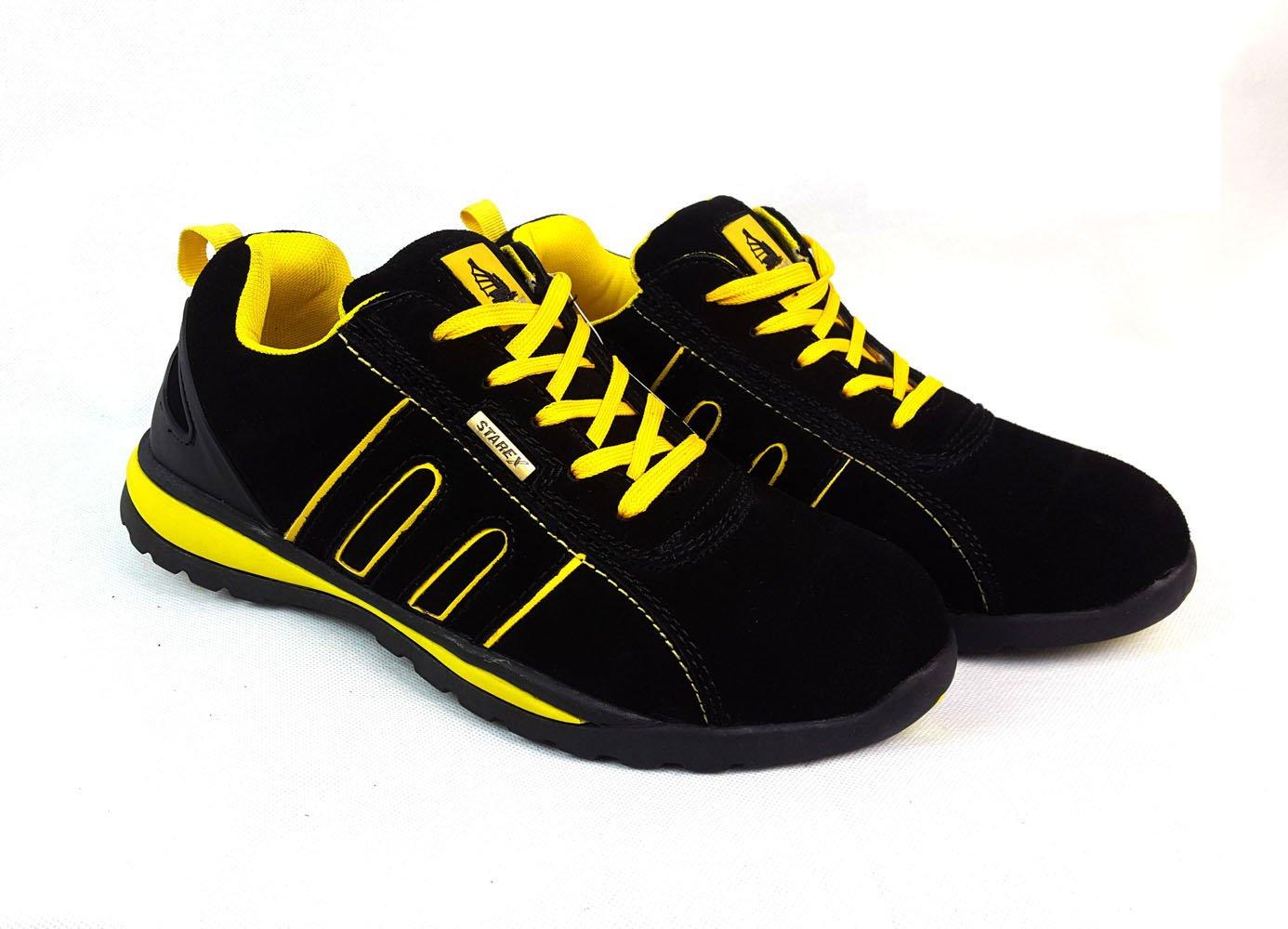Arbeits-/Sicherheitsschuhe für Herren, mit Stahlkappe, knöchelhoch, rot Suede / schwarz, 9 Yellow/schwarz Suede rot 6a29c8
