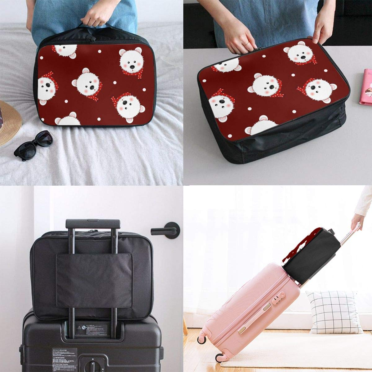 ADGAI White Bear with Red Scarf Polka Dot On Red Canvas Travel Weekender Bag,Fashion Custom Lightweight Large Capacity Portable Luggage Bag,Suitcase Trolley Bag
