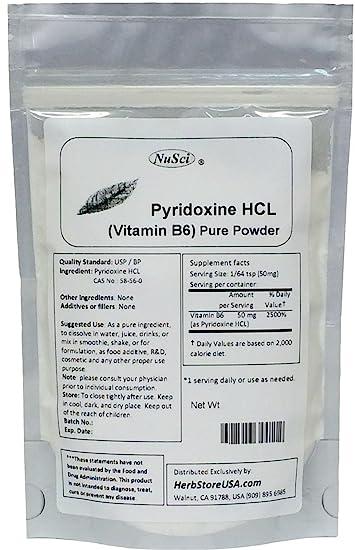 Amazon.com: nusci Pyridoxine HCL Vitamina B6 Pure 100 g en ...
