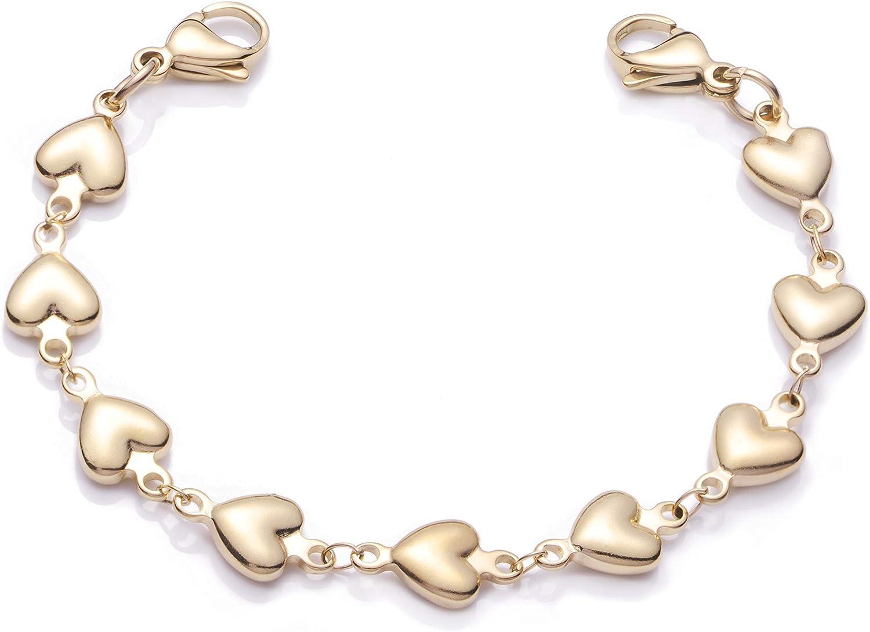 linnalove Heart Link Stainless Steel Interchangeable Medical Alert Bracelet