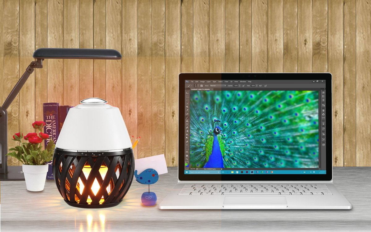 Sumaote LED Flame Lamp Aroma Diffuser, Torch Atmosphere Light With LED Flicker Yellow Dancing Light & Aroma Diffuser 150ml Humidifier Oil Diffuser with Timing Function for Spa Bedroom Babyroom by Sumaote (Image #8)