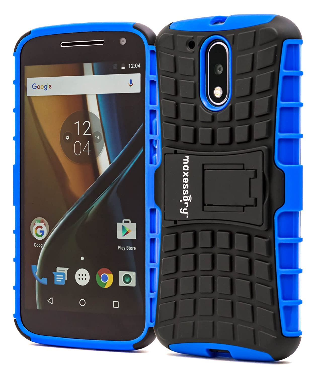 differently 7ec33 d0dd4 Motorola G4 Case, Moto G4 Plus Case, Maxessory Blue Offroad Shock-Proof  Rugged Dual-Layer Armor Rigid Ultra-Slim Kickstand Protective Hard Tough ...