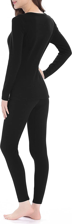 Thermal Underwear for Women Midweight Cotton Long Underwear Fleece Long John Base Layer Set