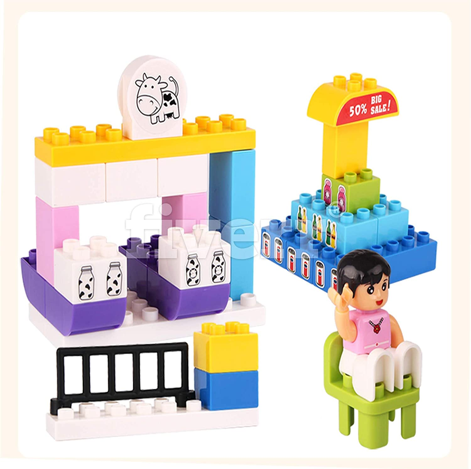 Ele Toys Educational STEM Large Childrens Building Blocks for Preschool and Toddlers Includes Stickers and Story on Feelings Compatible Building Bricks Construction Set
