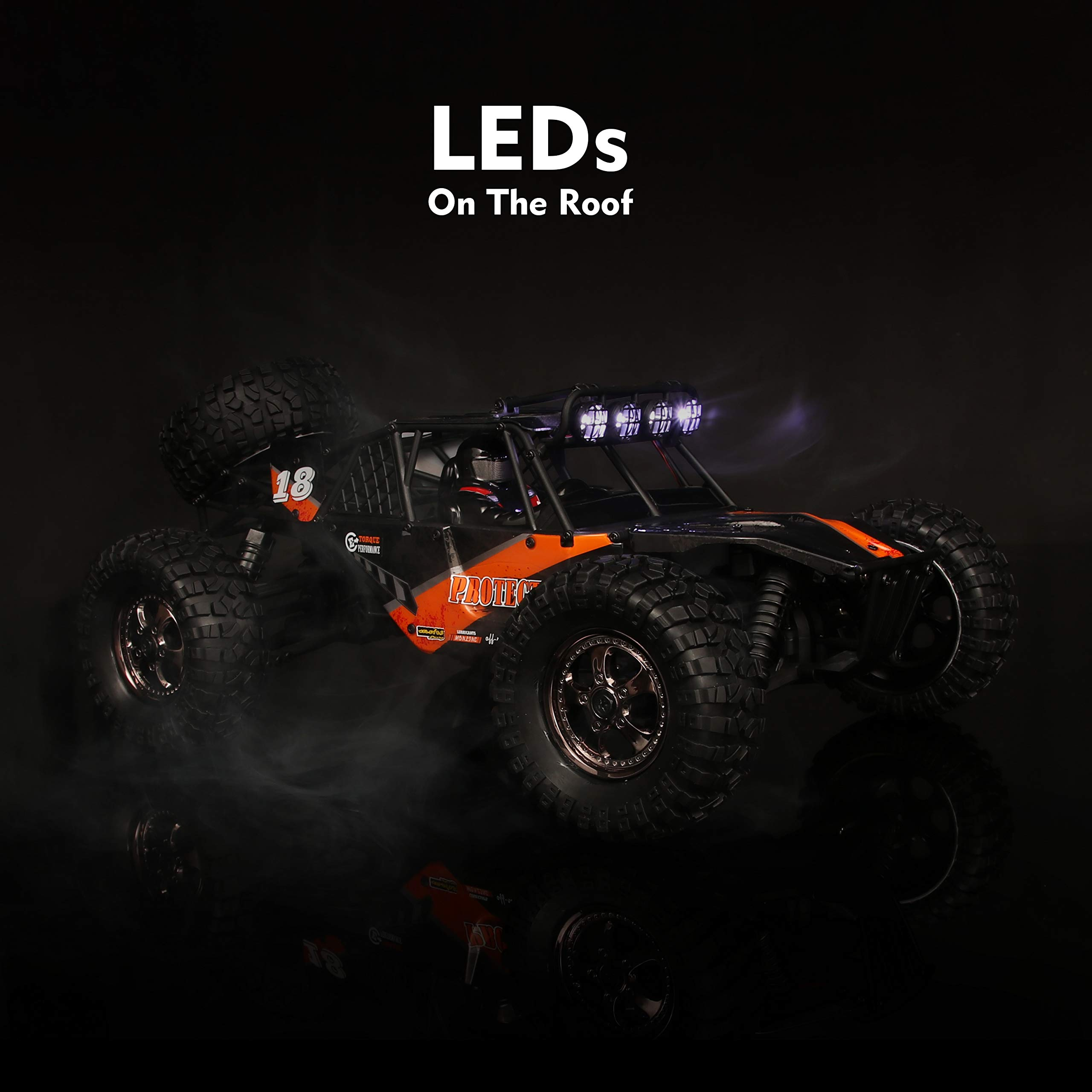 RC Cars Protector 1/12 Scale 4WD Off-Road Buggy 38+KM/H High Speed LED Lights, 2.4 GHz Radio Controlled All Terrain Waterproof Trucks RTR Electric Power Rechargeable Batteries 7.4 V 1500 mAh by BBM HOBBY (Image #6)