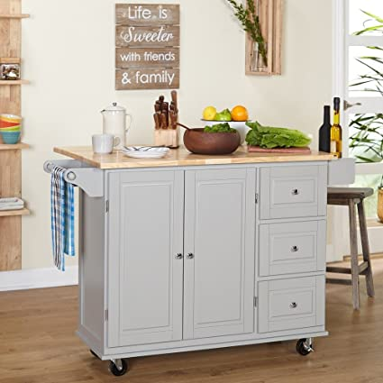 Kitchen Islands On Wheels Drop Leaf Utility Cart Mobile Breakfast Bar With  Storage Drawers Towel And