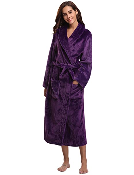 3fa8b9ce81 Aibrou Womens Soft Long Coral Fleece Bath Robe Dressing Gown