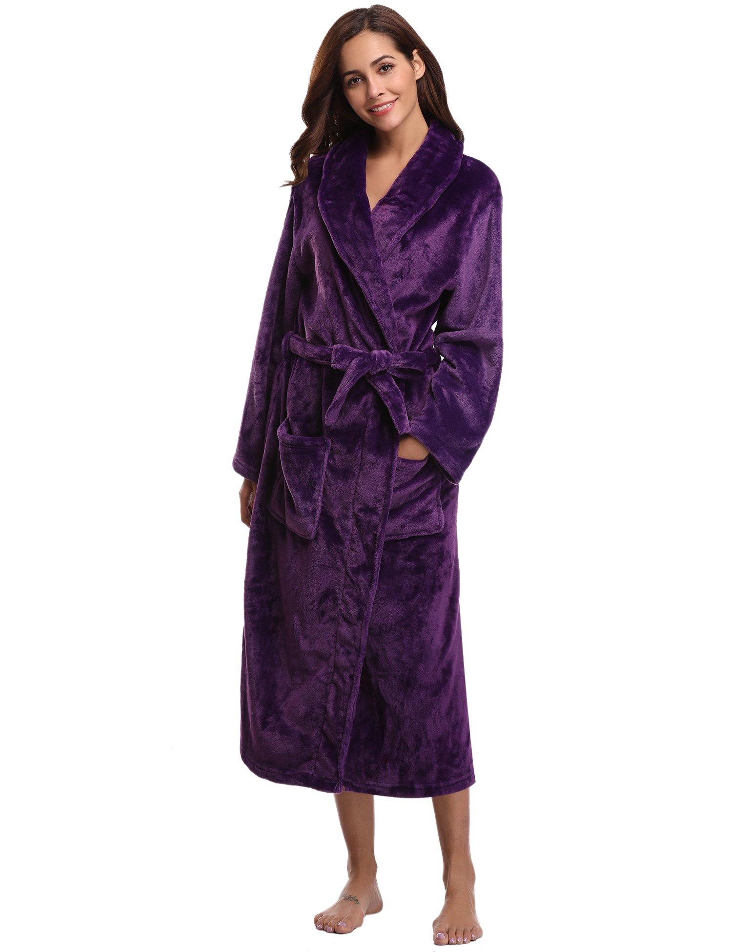 a4e316c7afc90 Aibrou Peignoir Femme Velours Robe de Chambre Polaire Chaud Long Flanelle  Peignoir de Bain Homme Eponge
