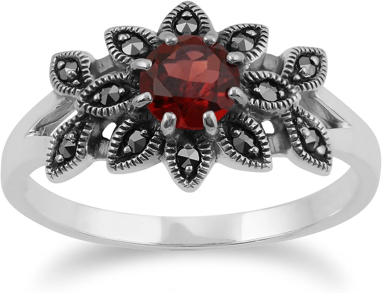 Art Nouveau Style Oval Garnet /& Marcasite Locket Necklace in 925 Sterling Silver