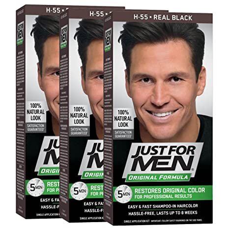 Buy Just For Men Shampoo In Hair Color Real Black 55 1 Application