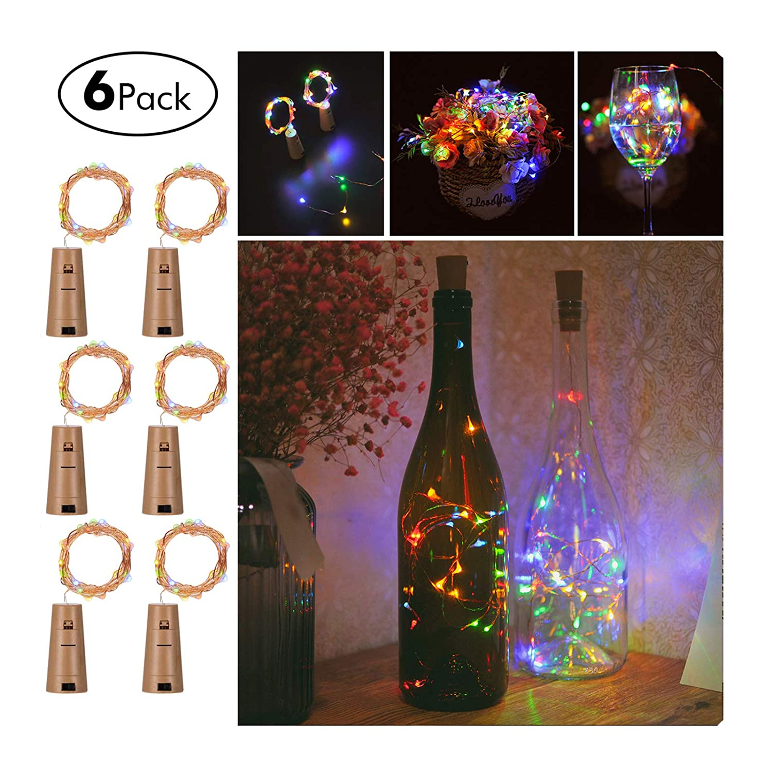 Wine Bottles String Lights, FairyDecor 6 Packs Micro Artificial Cork Copper Wire Starry Fairy Lights, Battery Operated Lights for Bedroom, Parties, Wedding, Decoration(6 Packs 2m/7.2ft,Mutil Color) UK-JPXD-SC-6
