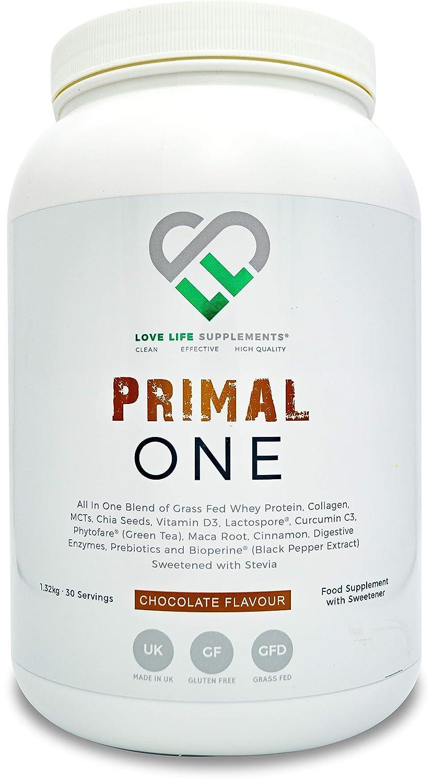 LLS PODER PRIMAL | Suero Concentrado de Proteína de Alimento de Hierba / Sustituto Alimenticio Batido con Triglicéridos de Cadena Media (MCTs) del ...