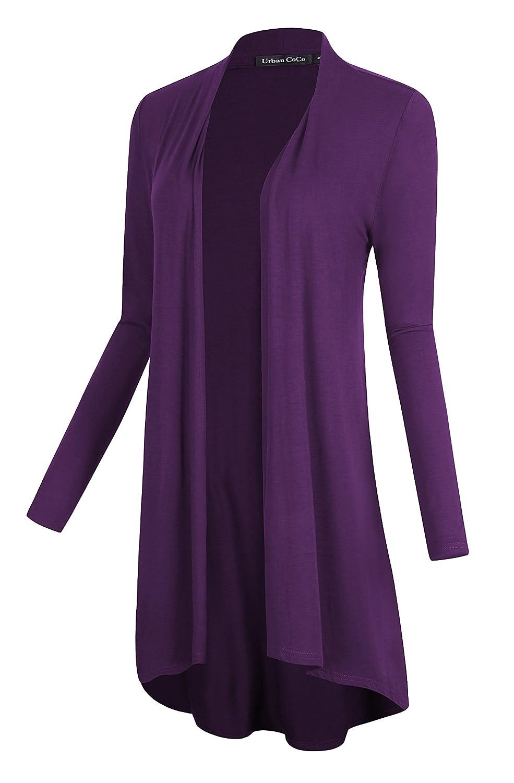 Urban CoCo Women's Open Front Long Sleeve Long Basic Cardigan