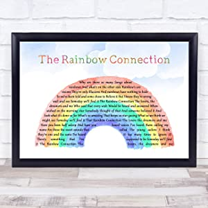 The Rainbow Connection Watercolour Rainbow & Clouds Song Lyric Quote Music Poster Gift Present Wedding Song Art Print