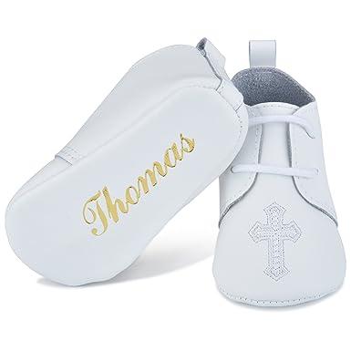 Amazon Com Personalized Leather Christening Baptism Shoe White