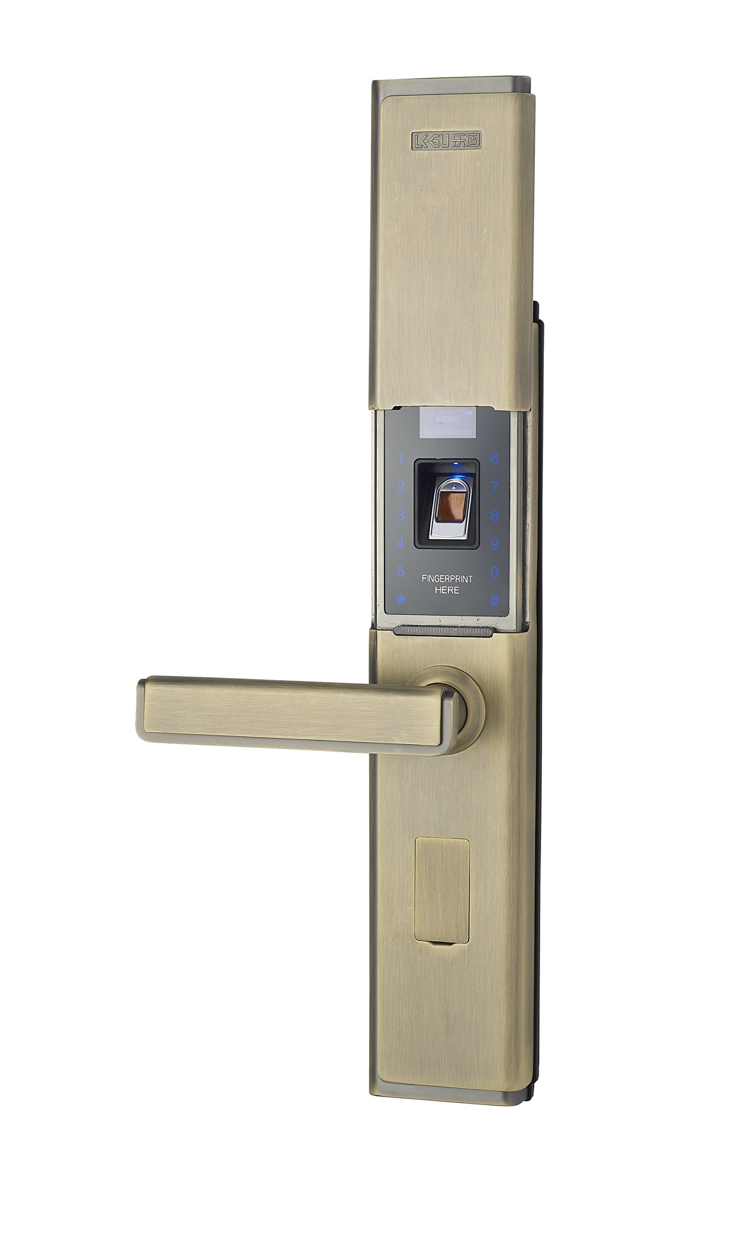 LEGU Fingerprint and Touchscreen Keyless Smart Lever Lock for Door fingerprint+password+card+key/Security intelligent anti-theft lock (Left handed)