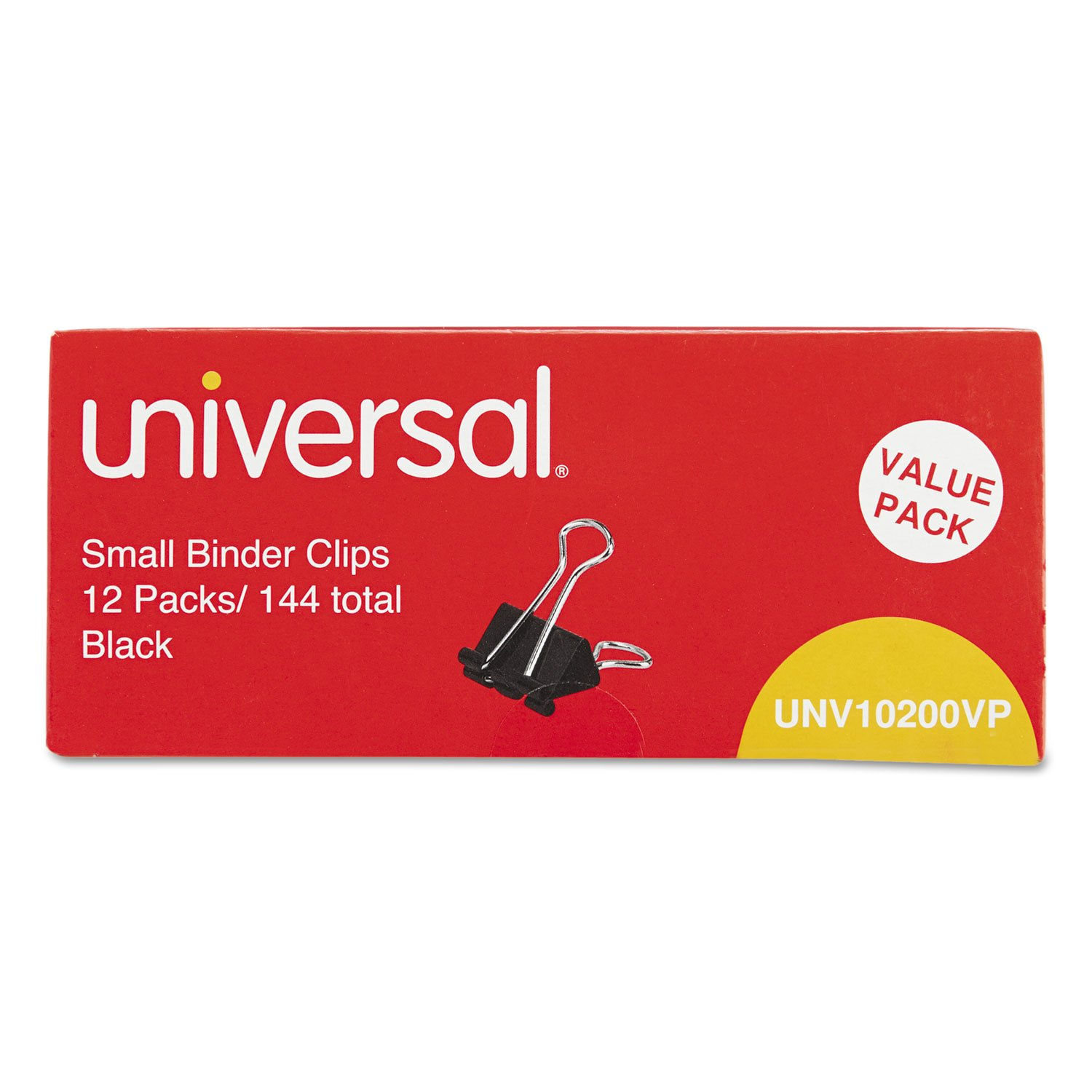 """""""Small Binder Clips, Steel Wire, 3/8"""""""" Capacity, 3/4"""""""" Wide, Black/Silver, 144/Pack"""""""