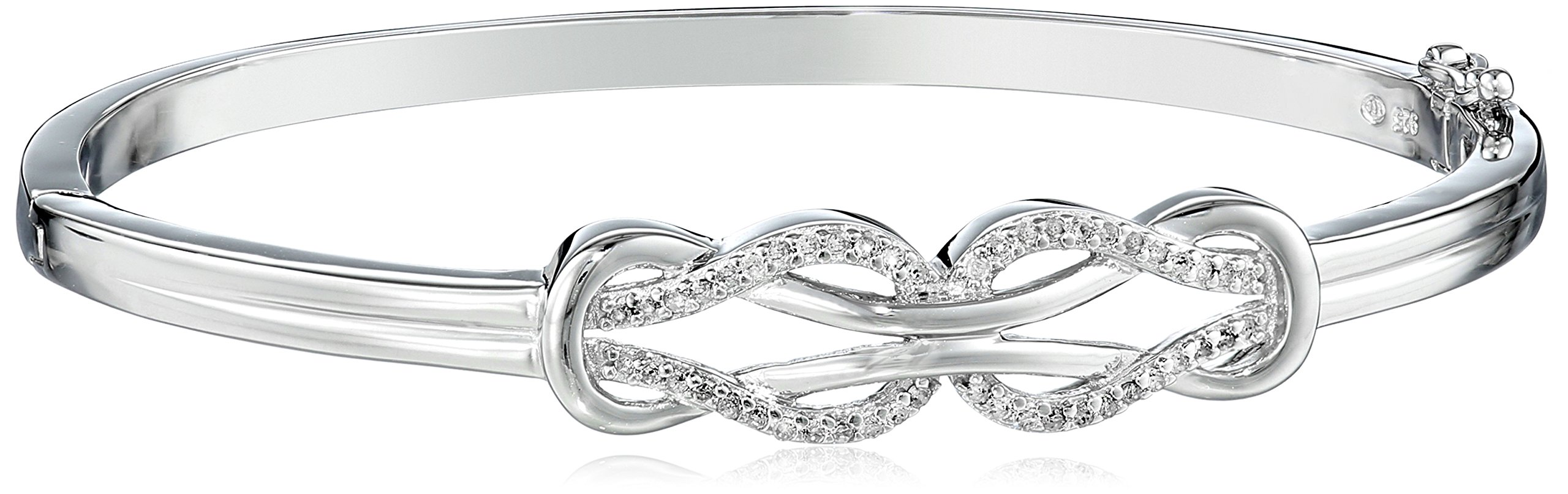 Sterling-Silver-Diamond-Double-Knot-Bangle-Bracelet-14-cttw-J-Color-I3-Clarity
