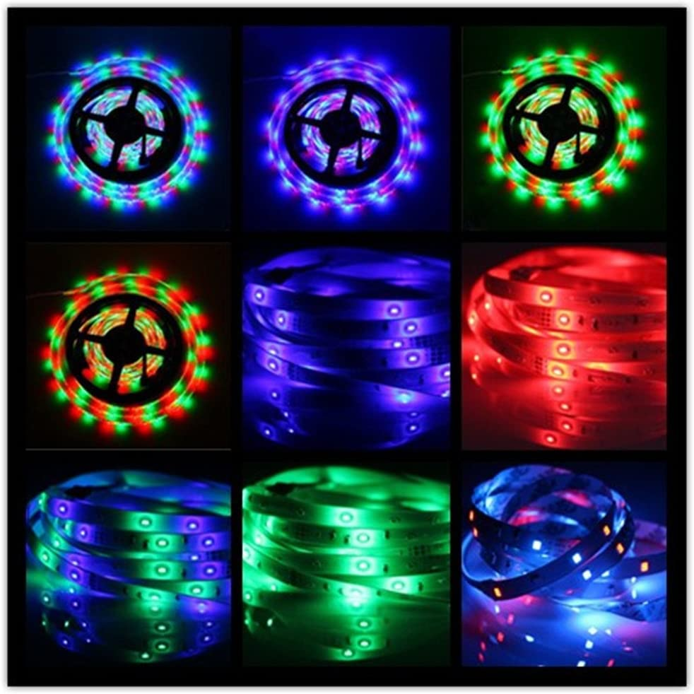 Tasodin Water-resistace IP65 5M//16.4 Ft SMD 3528 300leds Multicolor Changing Kit LED Cuttable Light Strips with Flexible Strip Light+24Keys IR Remote Control+Power Supply