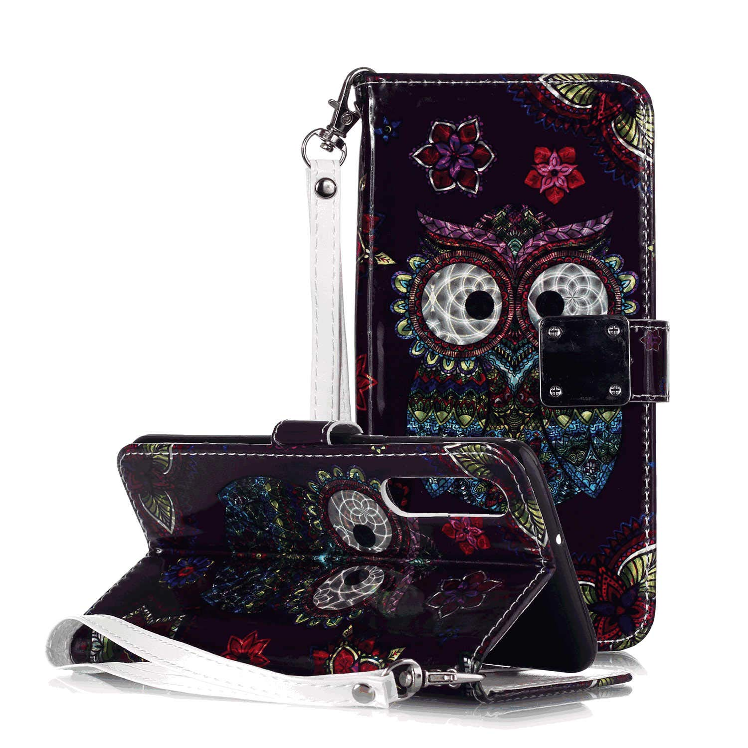 Simple Flip Case Fit for iPhone XR Skull Leather Cover Wallet for iPhone XR