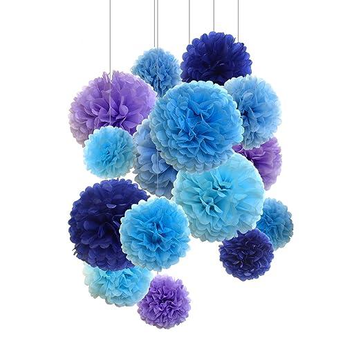 Pompones de papel, 15 unidades de 20, 25, 36 cm. Flores de papel. Pompones perfectos para decoración de boda, cumpleaños o decoración exterior