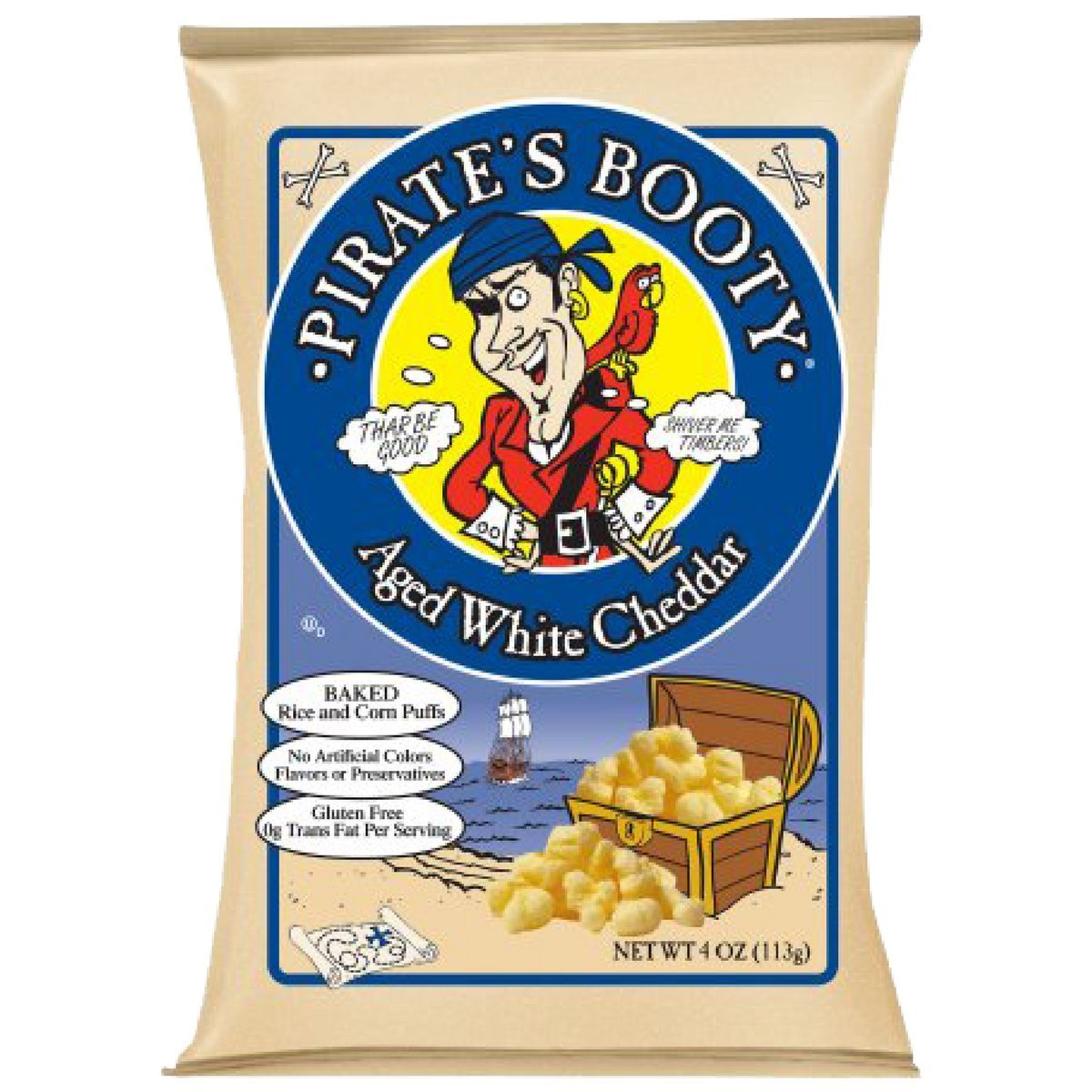 Pirate's Booty, Aged White Cheddar, 4-Ounce Bags (Pack of 1) by Pirate's Booty