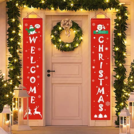 D,FantiX Merry Christmas Banners, Front Door Welcome Christmas Porch  Banners Red Porch Sign Hanging Xmas Decorations for Home Wall Indoor  Outdoor