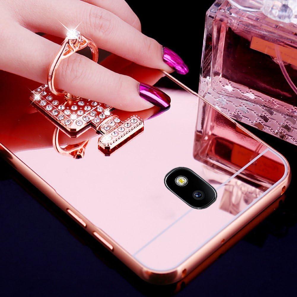 360 Rotation Bague b/âton support Coque Galaxy J7 2017,Coque Galaxy J7 2017 Aluminium Miroir Coloris Rose Or Etui Housse,Surakey Elegant Cool Bling Briller /étincellement Color/é Diamond Rose Or Coque