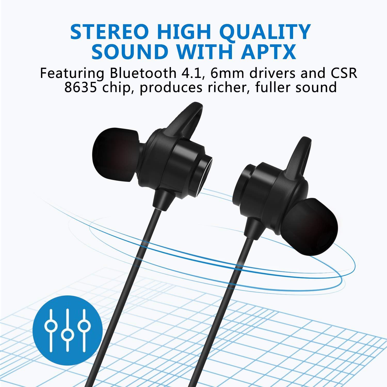 Auriculares Bluetooth, KOOHO E2 Bluetooth4.1 Magnéticos In-ear Cascos Deportivos Inalámbricos con Mic, Resistente al Agua IPX6, Reducción de Ruido CVC6.0, ...