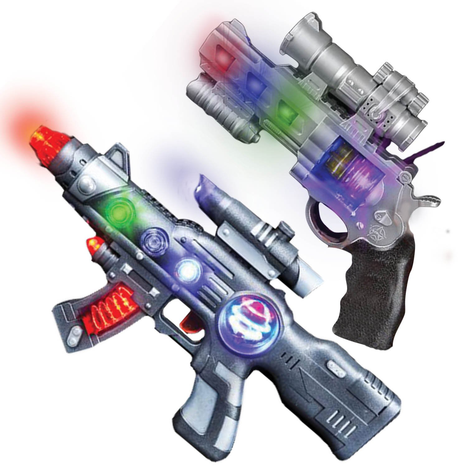 LED Light Up Toy Gun Set by Art Creativity - Super Ray Gun Blasters with Colorful Flashing LEDs & Sound - Cool Play Toys for Boys and Girls - Includes 12.5'' Assault Rifle, 9'' Hand Pistol and Batteries