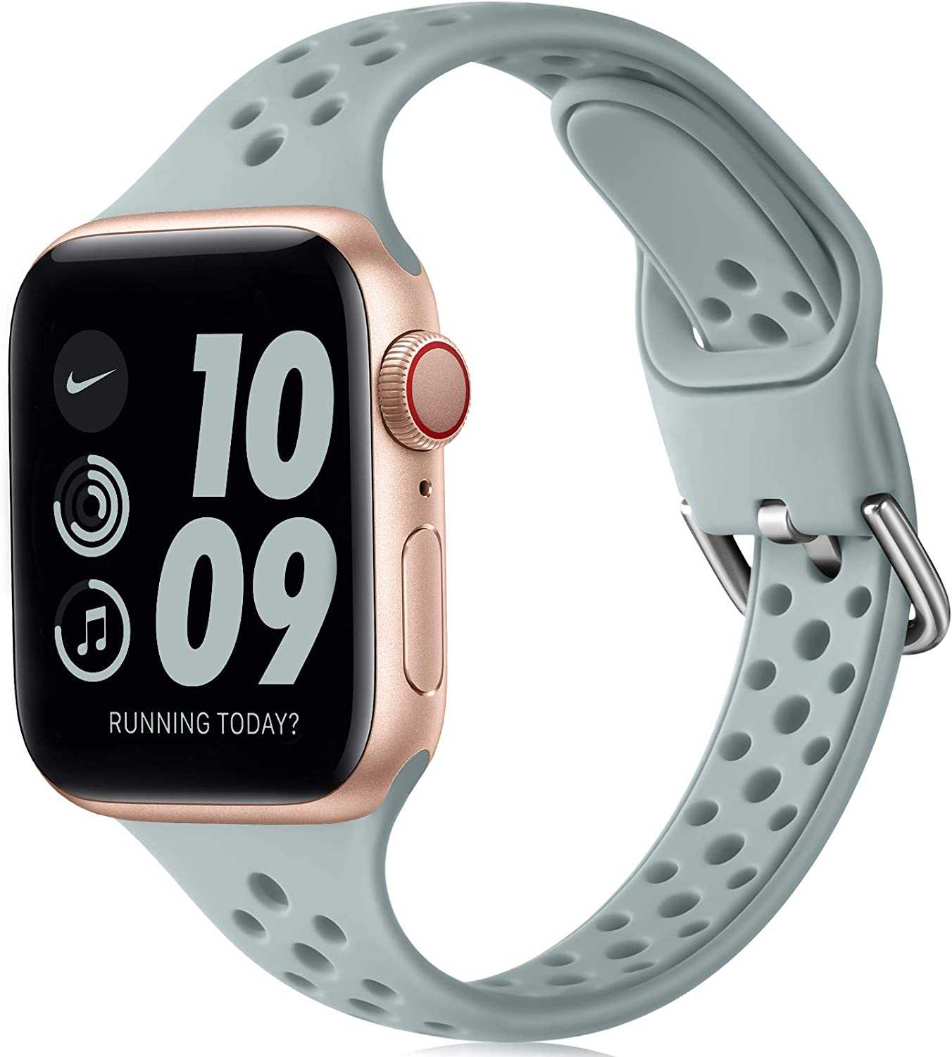 Henva Slim Breathable Band Compatible with Apple Watch SE 38mm 40mm for Women Girls, Soft Silicone Narrow Sport Band Compatible with iWatch Series 6 5 4 3 2 1, Turquoise