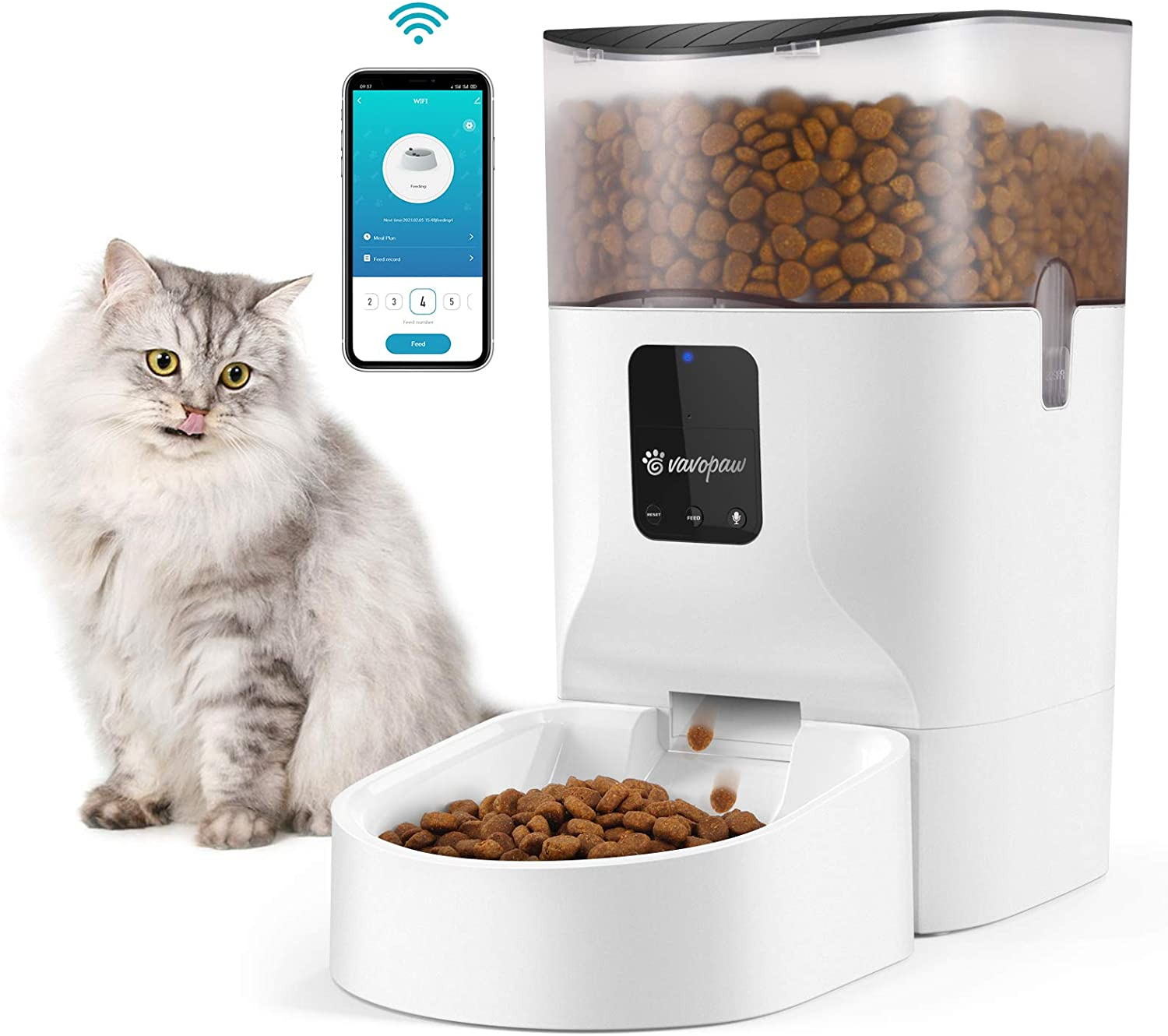 VavoPaw 7L Automatic Cat Feeder, WiFi Enabled Smart Food Dispenser for Cats, Dogs & Small Pets with APP Control, Programmable Timer, Voice Recorder and Portion Control Up to 10 Meals per Day