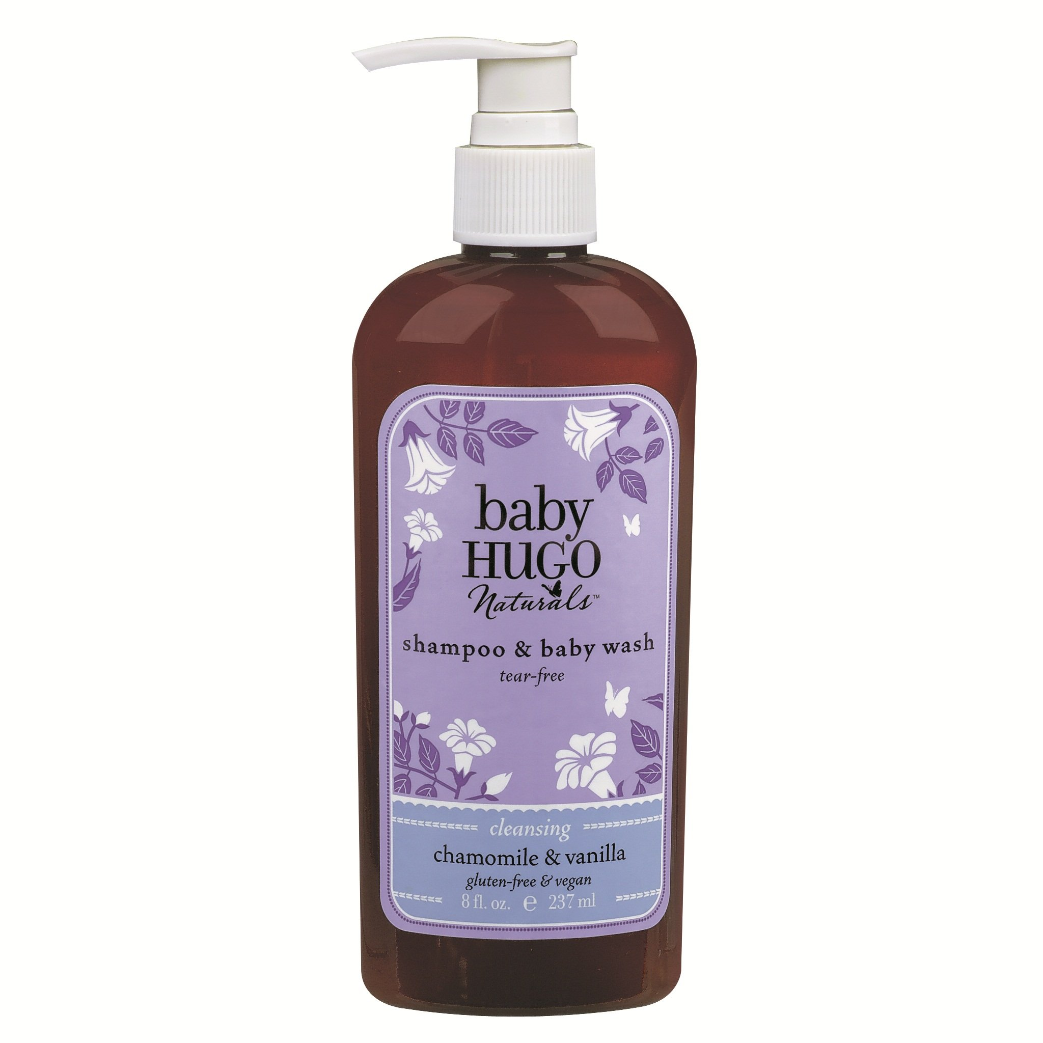Hugo Naturals Baby Shampoo & Baby Wash, Shea Butter & Chamomile, 8 Ounce Pump Bottle,  (Pack of 2)