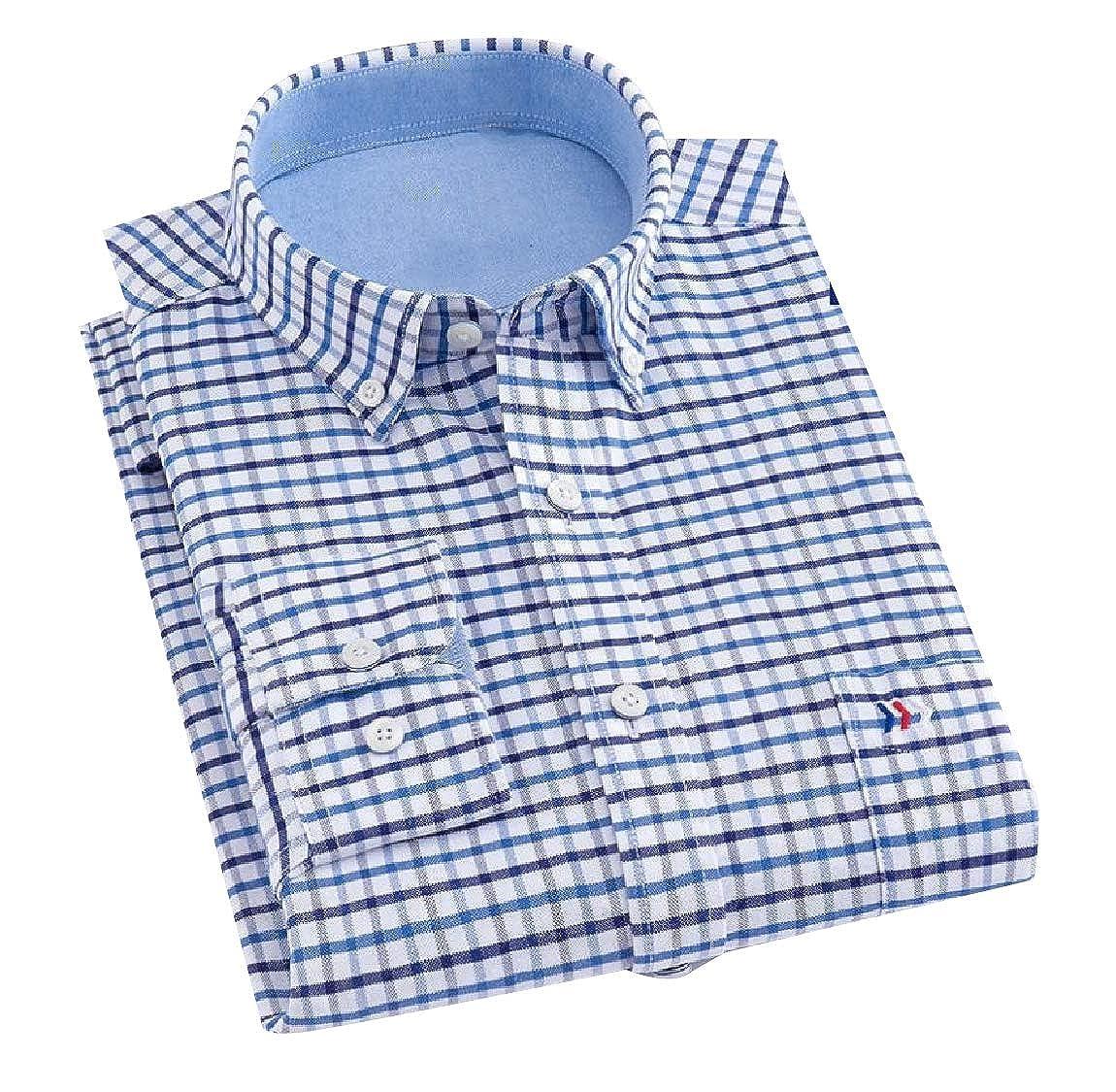 YUNY Mens Long-Sleeve Plaid Cozy Formal Classic Oxford Poplin Shirt 26 L