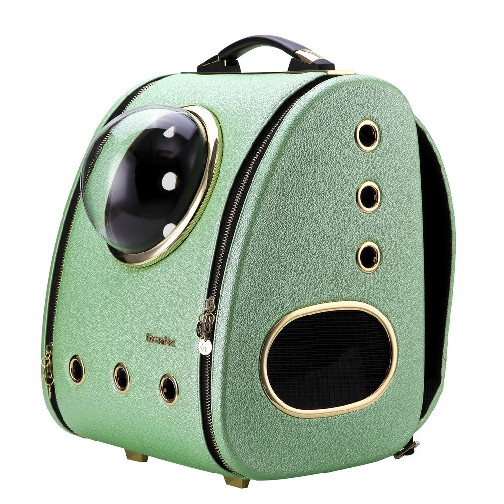 CloverPet Innovative Fashion Bubble Pet Travel Carrier Backpack for Cats Dogs Puppy,Green