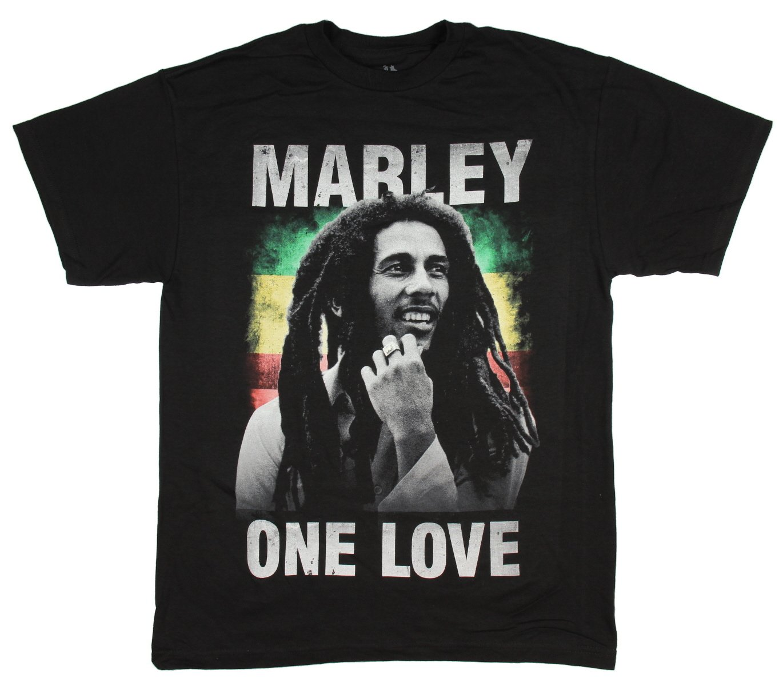 Bob Marley T-Shirt Mens One Love Reggae Rasta Black Cotton Tee Small