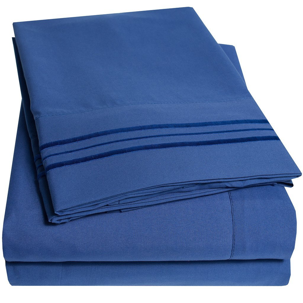 4 Piece, King, Royal Blue Bed Sheet Set