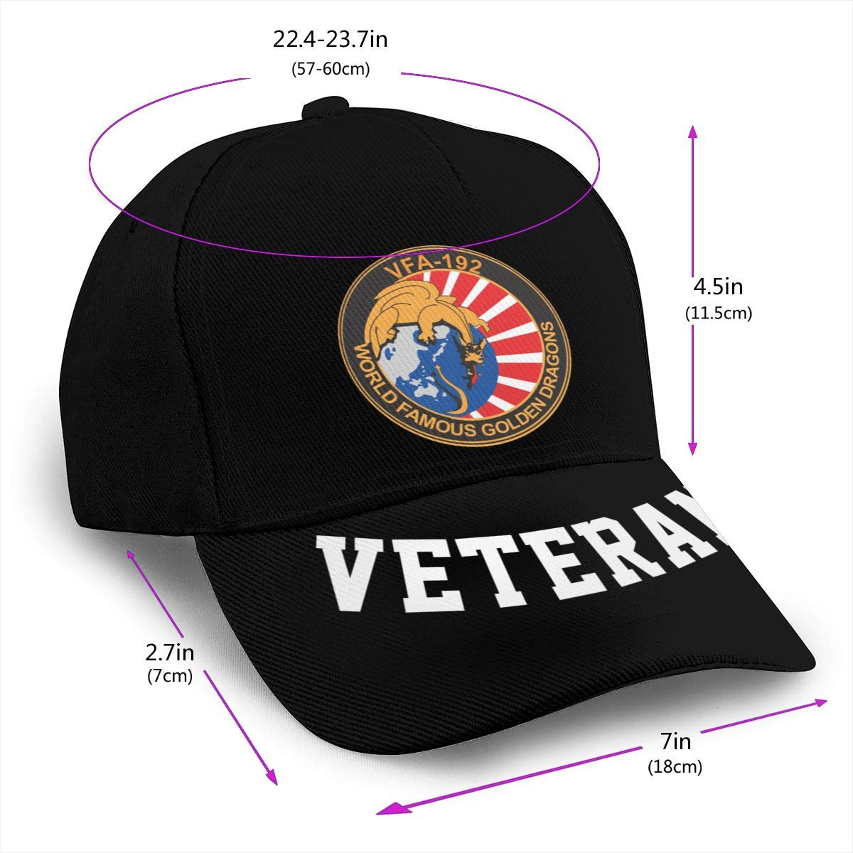VFA-192 World Famous Golden Dragons Baseball Cap Dad Hat Unisex Classic Sports Hat Peaked Cap Veteran Hat